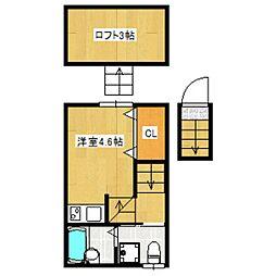 京王線 桜上水駅 徒歩9分の賃貸アパート 2階ワンルームの間取り