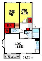 ヴィクトワールGONDOU[2階]の間取り