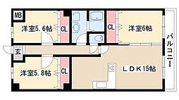 愛知県名古屋市天白区鴻の巣1丁目の賃貸マンションの間取り