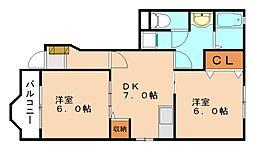 ジェルメ・コリーヌE[1階]の間取り