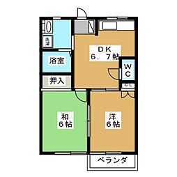アプローズ萩2[1階]の間取り
