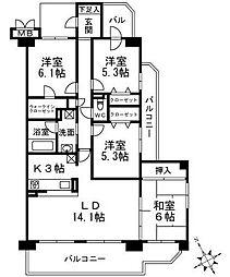 ローレルスクエア高の原1番館[4階号室]の間取り