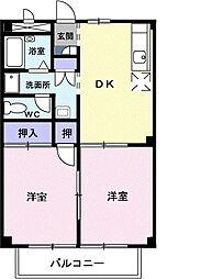 静岡県静岡市葵区与左衛門新田の賃貸アパートの間取り