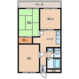 池西マンション[4階]の間取り