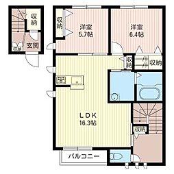 ロシホル B[2階]の間取り