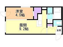 セピアガーデン豊平 4階1LDKの間取り