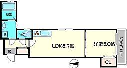 クリエオーレ上野口II[3階]の間取り