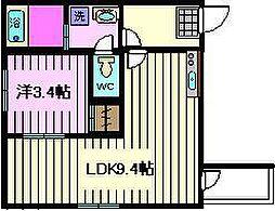 THE HOUSE 与野本町 Noir 2階1Kの間取り