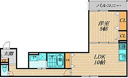 クリエオーレ生江II[201号室]の間取り