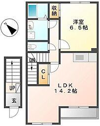 神奈川県川崎市麻生区片平6丁目の賃貸アパートの間取り