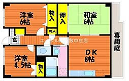岡山県岡山市北区花尻みどり町丁目なしの賃貸マンションの間取り