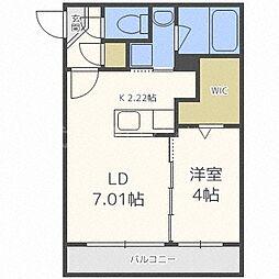 札幌市電2系統 西線11条駅 徒歩1分の賃貸マンション 3階1LDKの間取り