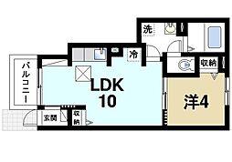 奈良県奈良市西九条町3丁目の賃貸アパートの間取り