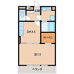 和歌山県和歌山市南出島の賃貸アパートの間取り