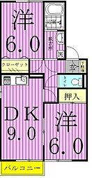セジュール御堂の上[B202号室]の間取り