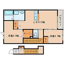 近鉄大阪線 五位堂駅 徒歩7分の賃貸マンション 2階2LDKの間取り