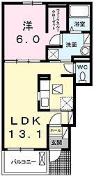 チェリーブロッサムIII 1階1LDKの間取り