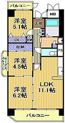 コーシャハイツ高見38[2階]の間取り
