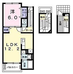 JR鹿児島本線 門司駅 徒歩13分の賃貸アパート 3階1LDKの間取り