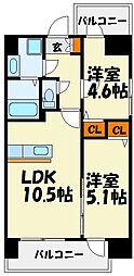 モダンパラッツォ県庁口[2階]の間取り
