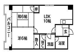 福岡県北九州市小倉南区北方4丁目の賃貸マンションの間取り