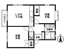 石川県金沢市上荒屋3丁目の賃貸アパートの間取り