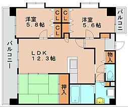 リバーランド箱崎5[3階]の間取り