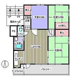 中銀新青木公園団地9号棟[2階]の間取り