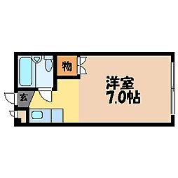 滋賀県大津市湖城が丘の賃貸アパートの間取り