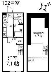 ハーミットクラブハウス逗子III1階Fの間取り画像