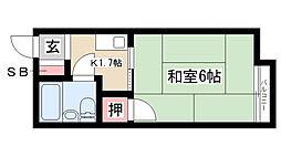 愛知県名古屋市昭和区若柳町1丁目の賃貸アパートの間取り
