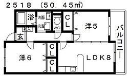 アシスト三伯[3階]の間取り