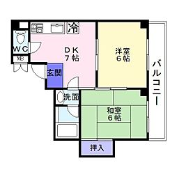 レジデンス長居[4階]の間取り