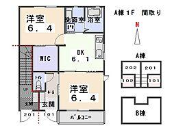 メゾンウィステリア A[1階]の間取り