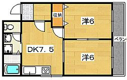 レオハイム高塚[2階]の間取り