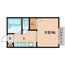 奈良県大和高田市本郷町の賃貸アパートの間取り