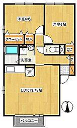 アムール1[2階]の間取り