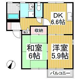リバーサイドハイツ B棟[2階]の間取り