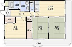 パレフルール[3階]の間取り