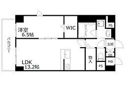 新芦屋ビル 3階1LDKの間取り