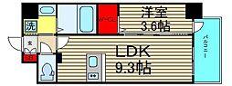 ファステ―ト難波グランプリ 8階1LDKの間取り