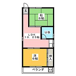 岩井コーポ[3階]の間取り