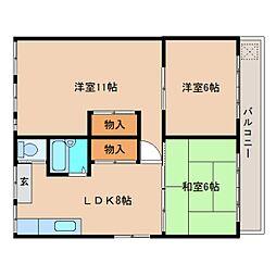 静岡県静岡市清水区袖師町の賃貸アパートの間取り