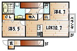 D-room葛原[1階]の間取り