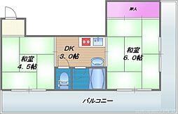 竹宏深江橋マンション 5階2DKの間取り