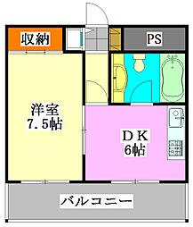 グリーン早稲田[805号室]の間取り