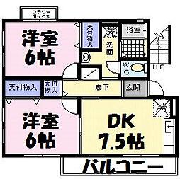 埼玉県越谷市登戸町の賃貸アパートの間取り