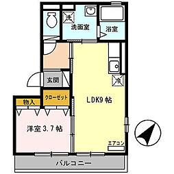 大阪府堺市西区鳳南町3丁の賃貸アパートの間取り