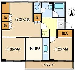 武里団地5-6-402[4階]の間取り