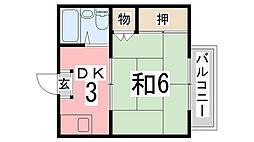 京口アパート[203号室]の間取り
